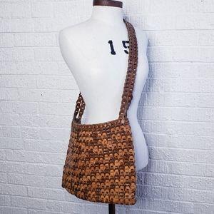 Vintage leather woven purse bag crossbody